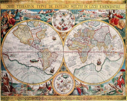 Old World Poster Map (Map of the World (Orbis Terrarum) by Petrus Plancius 1594 - Art Poster Print (16x20))