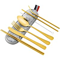 Portable Travel Utensils Silverware with Case Travel Camping Cutlery Set 8-Piece Including Knife Fork Spoon Chopsticks…
