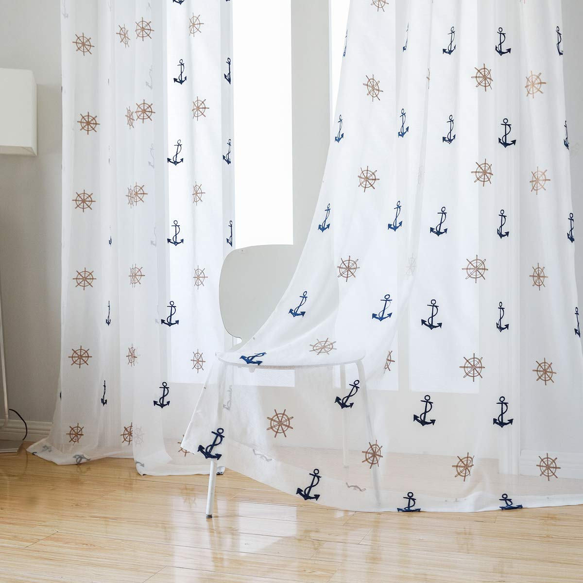 Custom Children Kids Boy Boat Embroidery Ivory White Sheer Net Curtain Panel