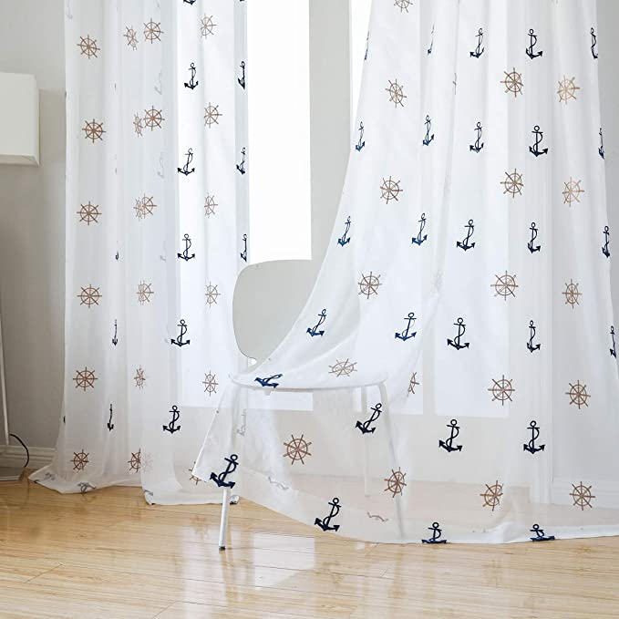 "taisier-home-window-treatments-sheer-curtains-draperies-with-nautical-anchor-for-living-room_bedroom_nursery-sliding-glass-door-ring-top-process(52""×84"",2-panels-set by taisier-home"
