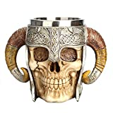 Viking Skull Mug, Umiwe Valhalla Warrior Viking Horn Mug Tankard Cup for Whiskey Coffee Wine Beer, 450ML, 15oz (Skull)