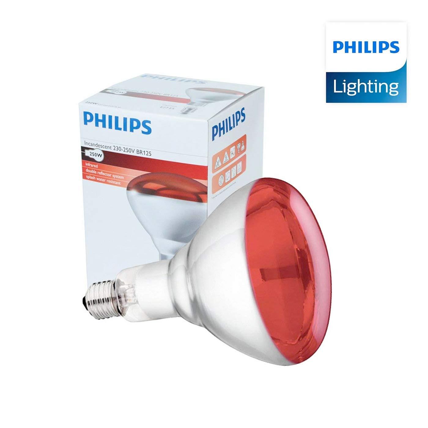 Infrarrojos Bombilla - 250W 230-250V (E27) - Emite Calor - Luz Roja - para Estufa de Infrarrojos Philips