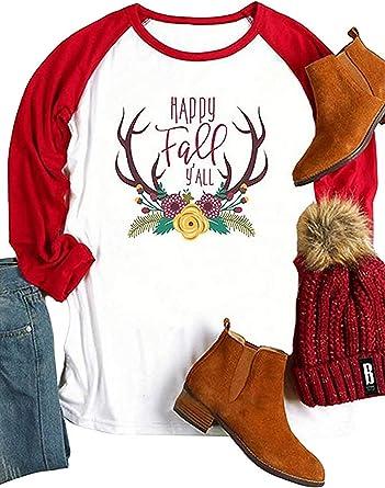 Camisa de Navidad para mujer, diseño de ciervo, manga 3/4 ...