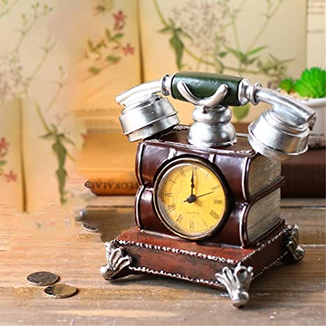 Desk Shelf Clocks Old Telephone Table Clock Battery Operated Decorative For Living Room Office Mantel Clock Old World Clock Desk Shelf Clock Color Brown Size 17x11x16cm Amazon Ca Home Kitchen