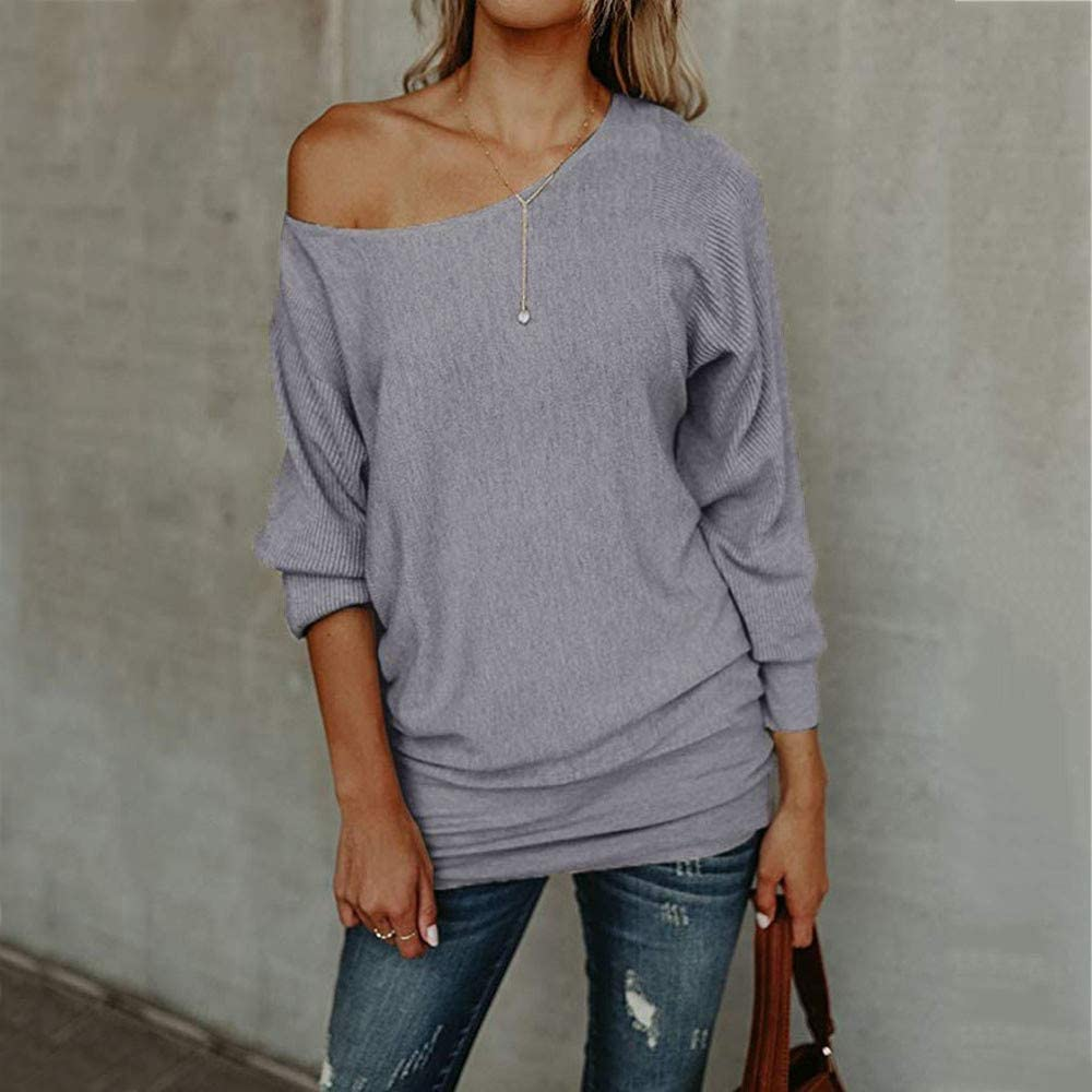 Lazzboy Womens Sweater Tops Knitted Off The Shoulder Long Sleeve Plain Loose Pullover UK 8-14