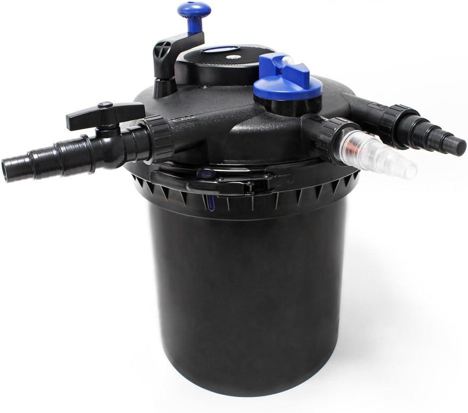 70W Pumpe Druckfilter XXL Set aus 30000l Filter 18W UVC Teichkl/ärer 25m Schlauch und Skimmer