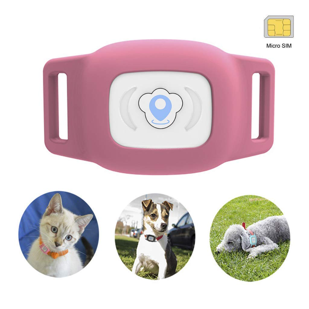 BARTUN Mini Pet Tracker GPS Locator for Dogs Cats 28lb Waterproof IP67 Real Time Activity Monitor AGPS LBS SMS Positioning Tracking Device with Collar Included SIM Card (Pink) by BARTUN