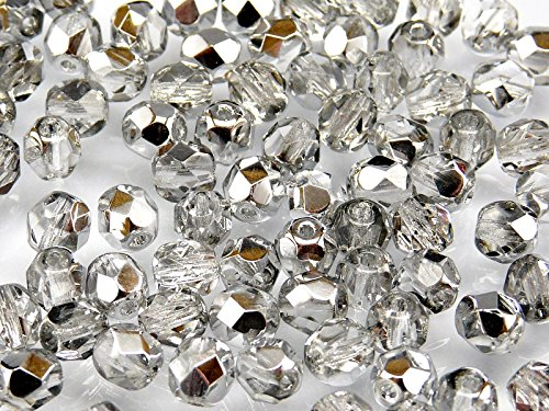 50pcs Czech Fire-Polished Faceted Glass Beads Round 6mm Crystal Silver -