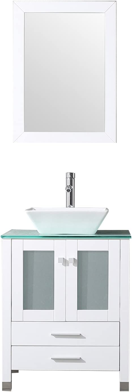 BATHJOY 24 White Bathroom Wood Vanity Cabinet Top Ceramic Vessel Sink Faucet Drain Combo with Mirror Vanities Set