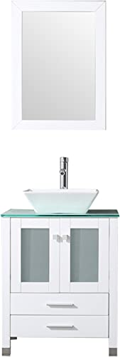 BATHJOY 24 White Bathroom Wood Vanity Cabinet Top Square Ceramic Vessel Sink Faucet Drain Combo
