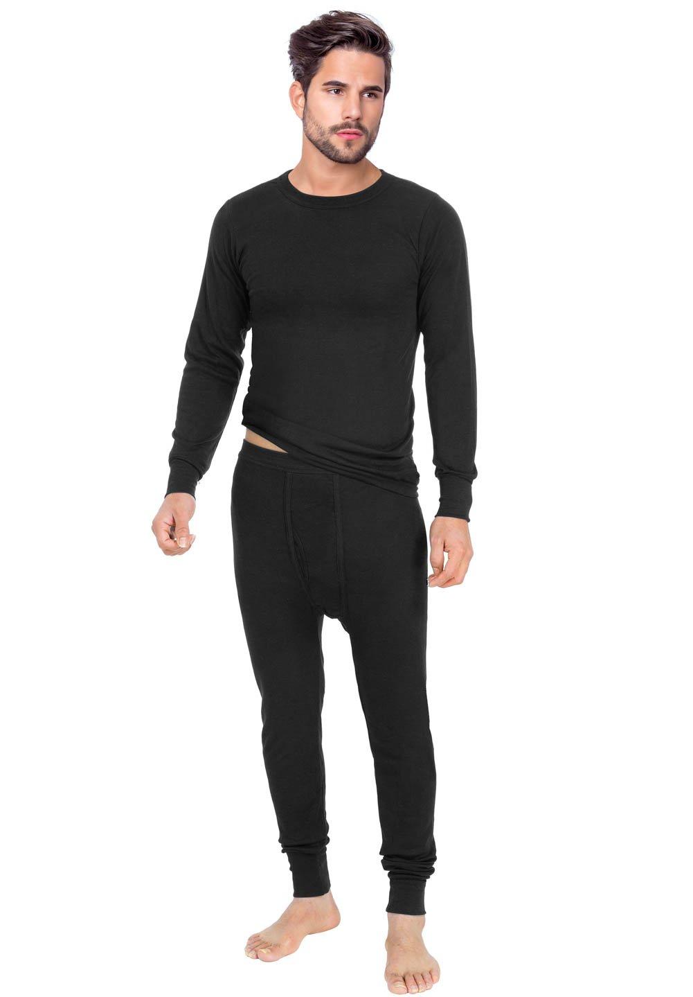 Rocky Men's Thermal 2pc Set Long John Underwear Smooth Knit (Xlarge, Black)