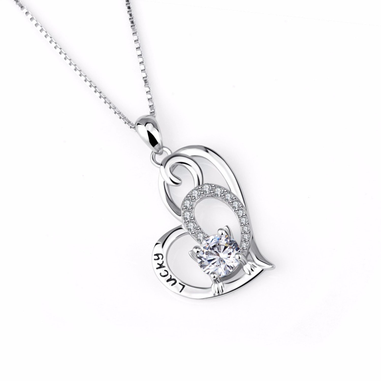 CS-DB Love Heart Crystal CZ Top Stylish Lucky Cat Jewelry