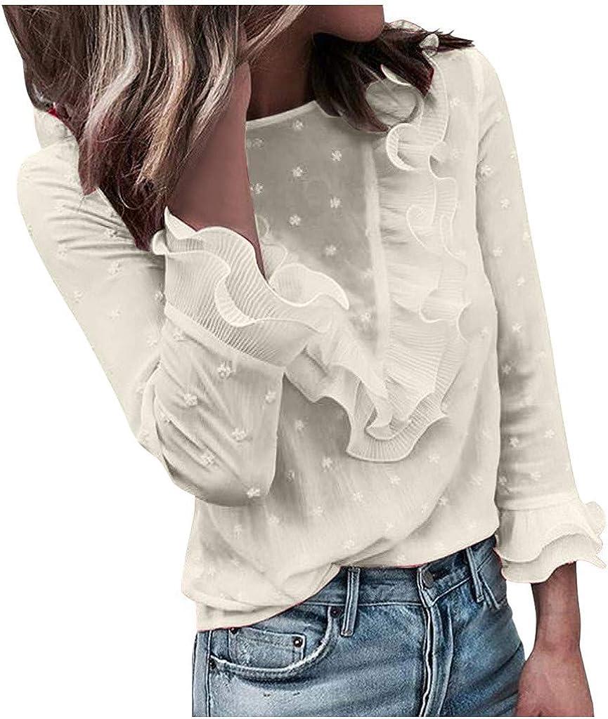 ✦ HebeTop ✦ Women Lace Polka Dot O-Neck Sweet Long Sleeve Tops T-Shirt