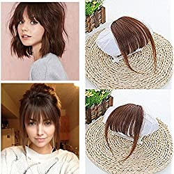 Ugeat 100% Human Hair Clip in Hair Extensions #6 Medium Brown Front Fringe with Hair Temples One Piece Striaght Fringe Hairpiece Accessories