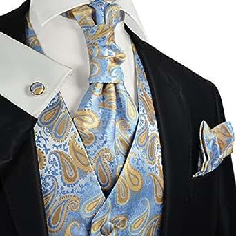 alaskan blue paisley wedding vest with tie cravat pocket