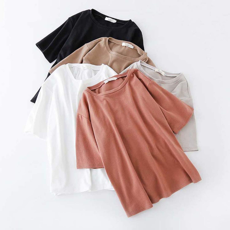 Korean Style Short Sleeve Womens Fashion T-Shirt Loose Tops Casual Tops