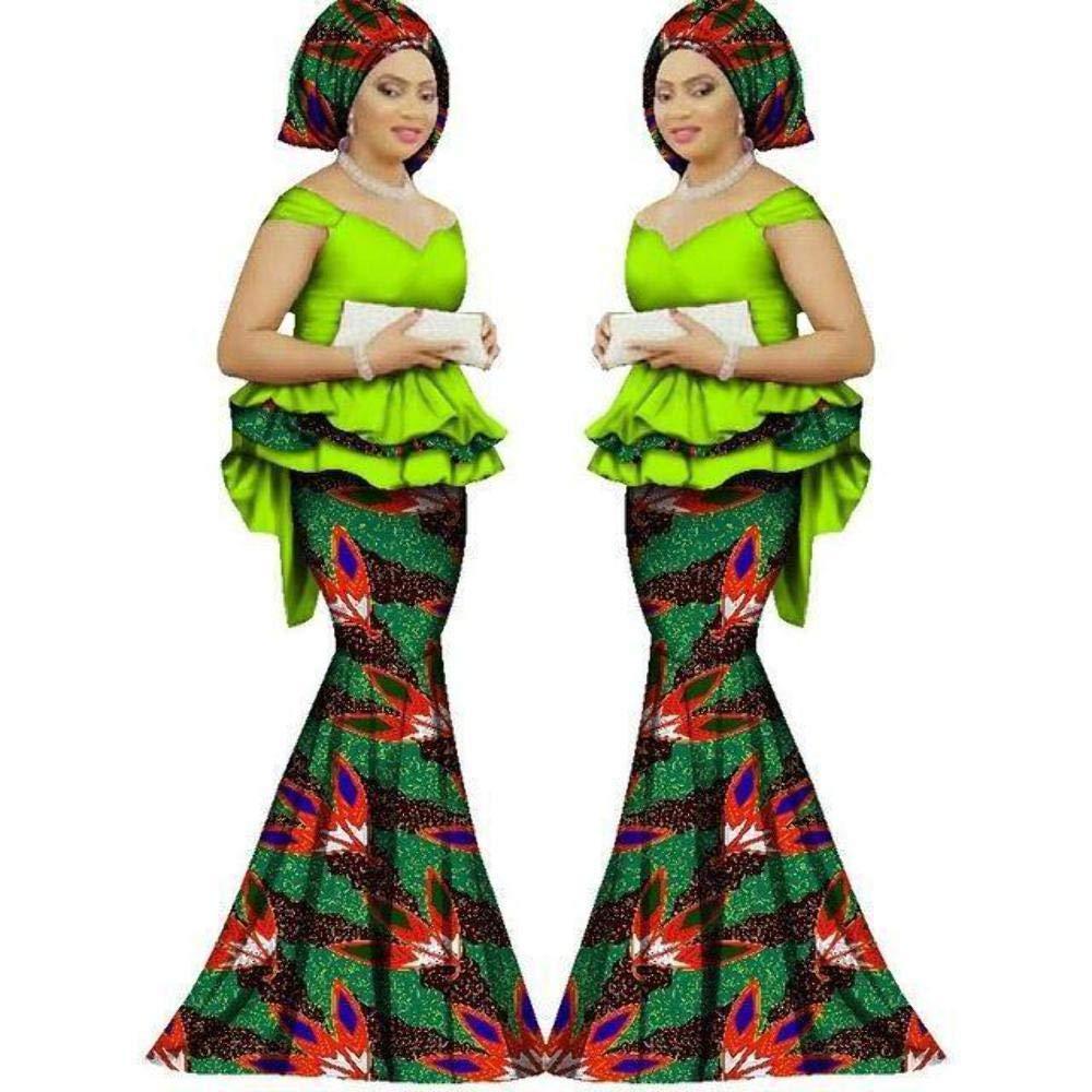 African Clothing Top-Skirt Set for Women Dashiki Traditional Bazin Print Kitenge