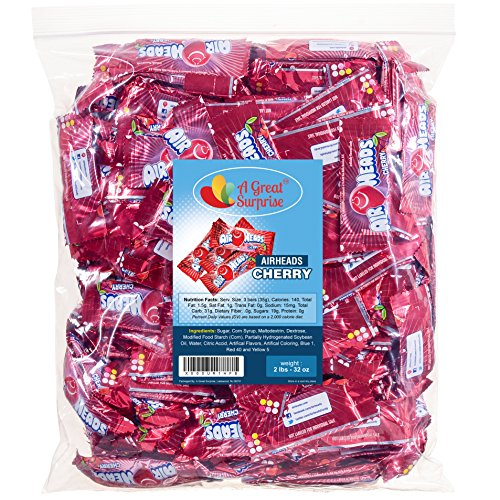 Airheads Bulk - Bulk Candy - Air Heads Mini Bars Cherry Flavor Chewy Fruit Candies 2 lb Party Bag, Family Size