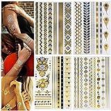 Tätowierung Wasserdicht Flash Tattoos - Metallic Temporäre Tattoos 13er Set Gold Silber Flash Klebe Tattoos Temporärefür Frauen Jugendliche Mädchen Body Art