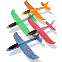 O-Toys 4 Pack Airplane Toy for Kids Throwing Foam Plane Set Large Indoor Outdoor Flying Toy for Boys Girls - Throw Planes Playing on Garden Beach Park (19 Inch)