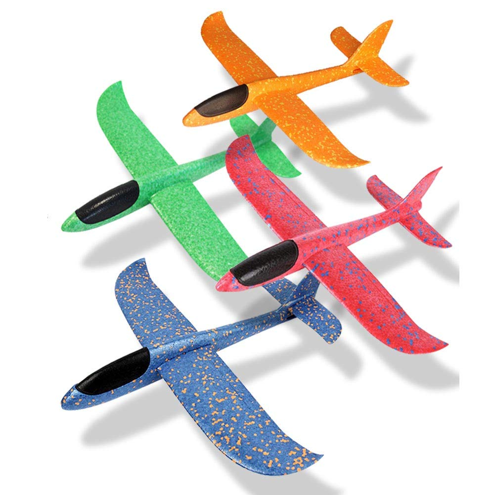 O-Toys 4Pcs 19Inch Glider Plane for Kids Large Throwing Airplane 2 Flight Mode Foam Flying Plane Fun Outdoor Sports Toys for Garden Yard Beach Lawn Park