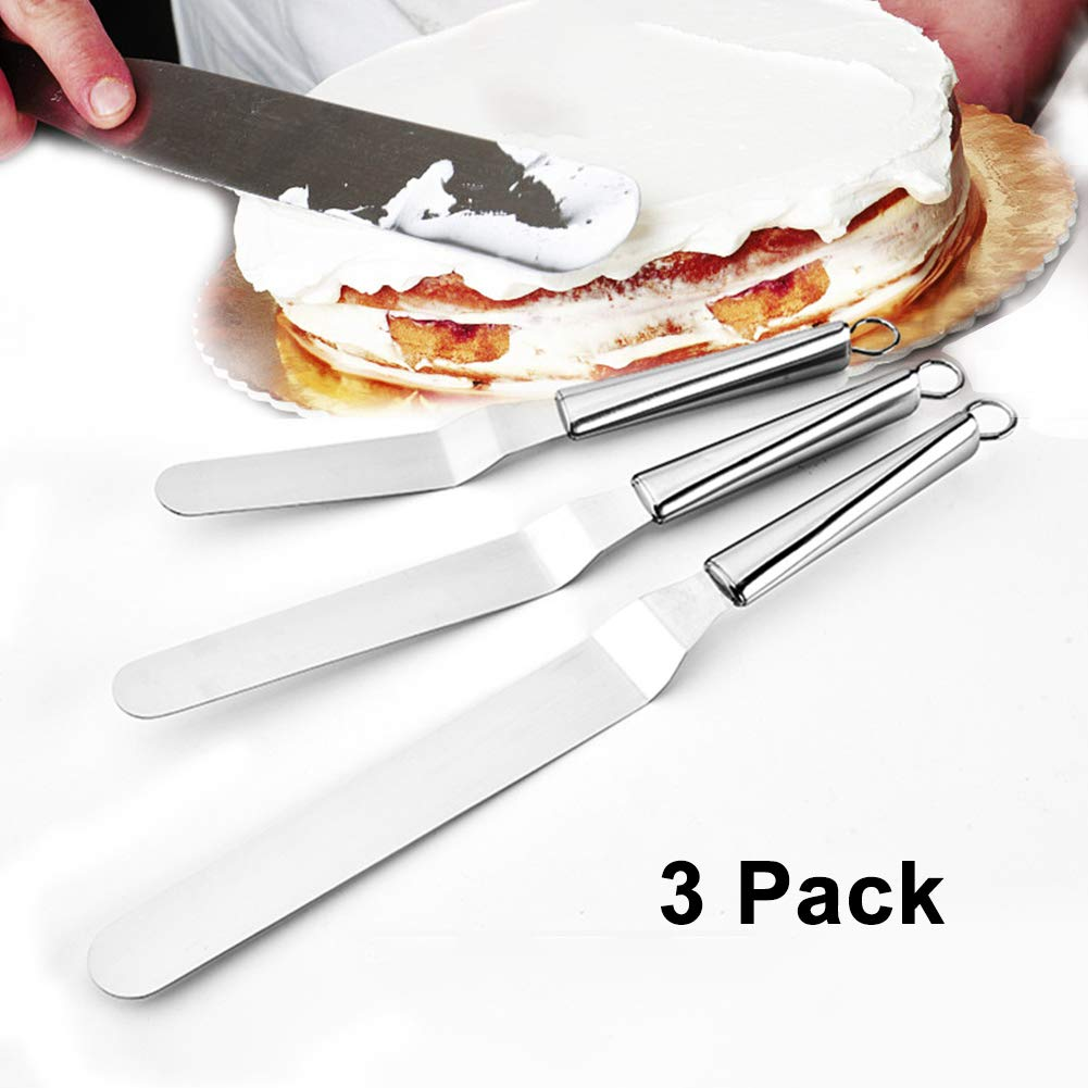 Stainless Steel Angled Icing Spatula with Polypropylene Handle, Icing Tool for Cakes Decorating, Set of 3(29cm 34 cm 39cm)