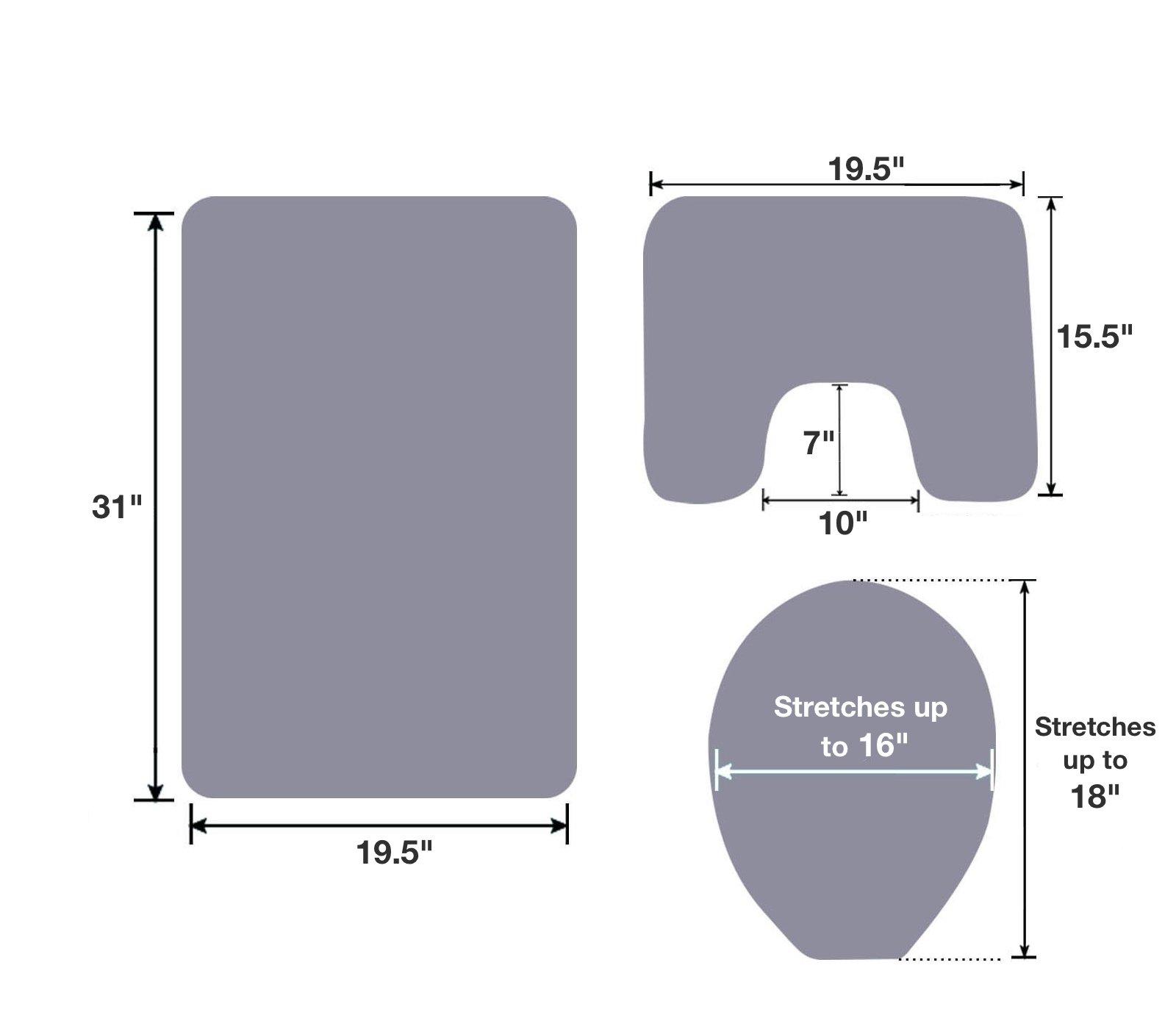 Mk Home 3pc Dark Brown Memory Foam Anti-Slip Bathroom Set Contour Bathroom Rug Set, Toilet Lid Cover and Mat New