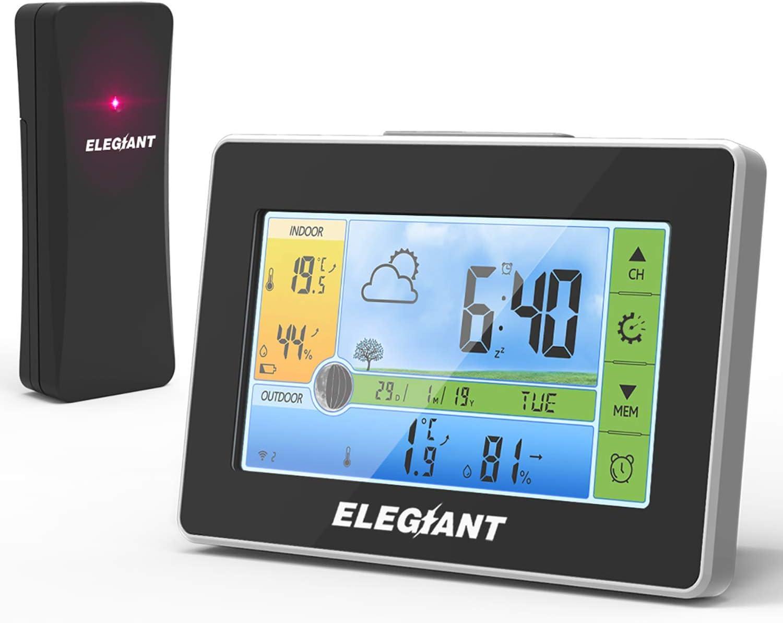 Estación Meteorológica Inalámbrica con Sensor para Exterior Interior para Casa con Radio, Pantalla a Todo Color Señal DCF Reloj Temperatura Presión de Aire Termómetro Humedad Forcast de Cinco Días