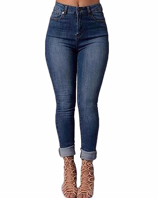 Auxo Mujeres Pantalones Vaqueros Elásticos Ajustados Atractivas Cintura Alta Skinny Jeans