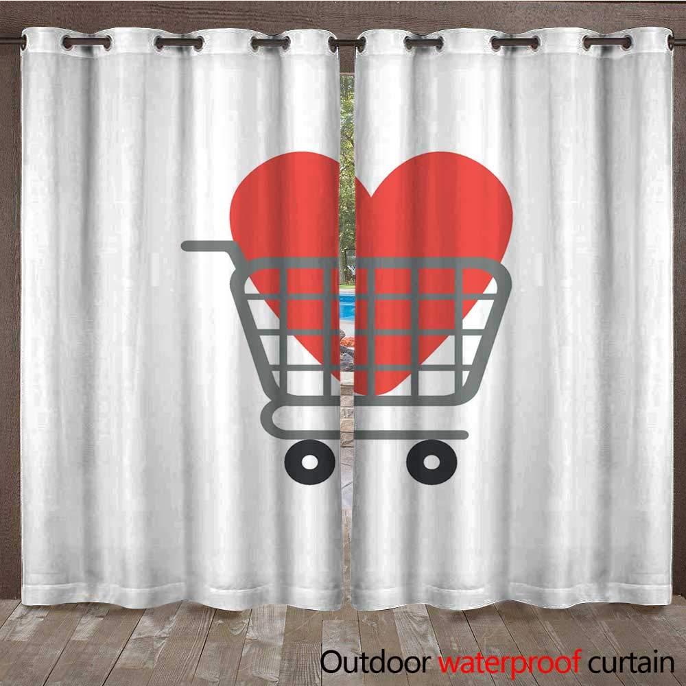 RenteriaDecor Home Patio Outdoor Curtain Flat Design Vector Concept of Heart Inside Shopping cart W84 x L108