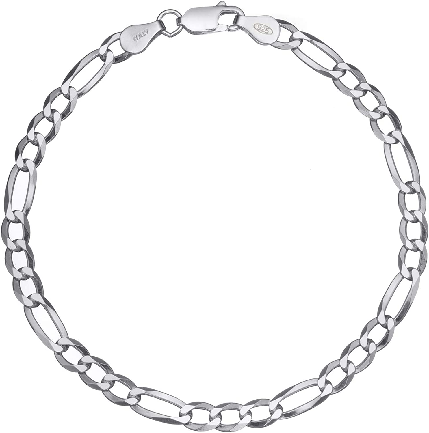 Real Sterling Silver Mens Diamond Cut Figaro Chain Necklace 925 Italy Stamp