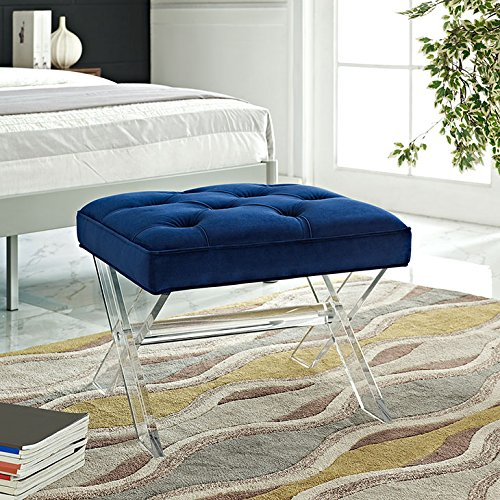 (Modway Swift Acrylic X-Base Entryway Modern Bench with Tufted Fabric Upholstery in Navy)
