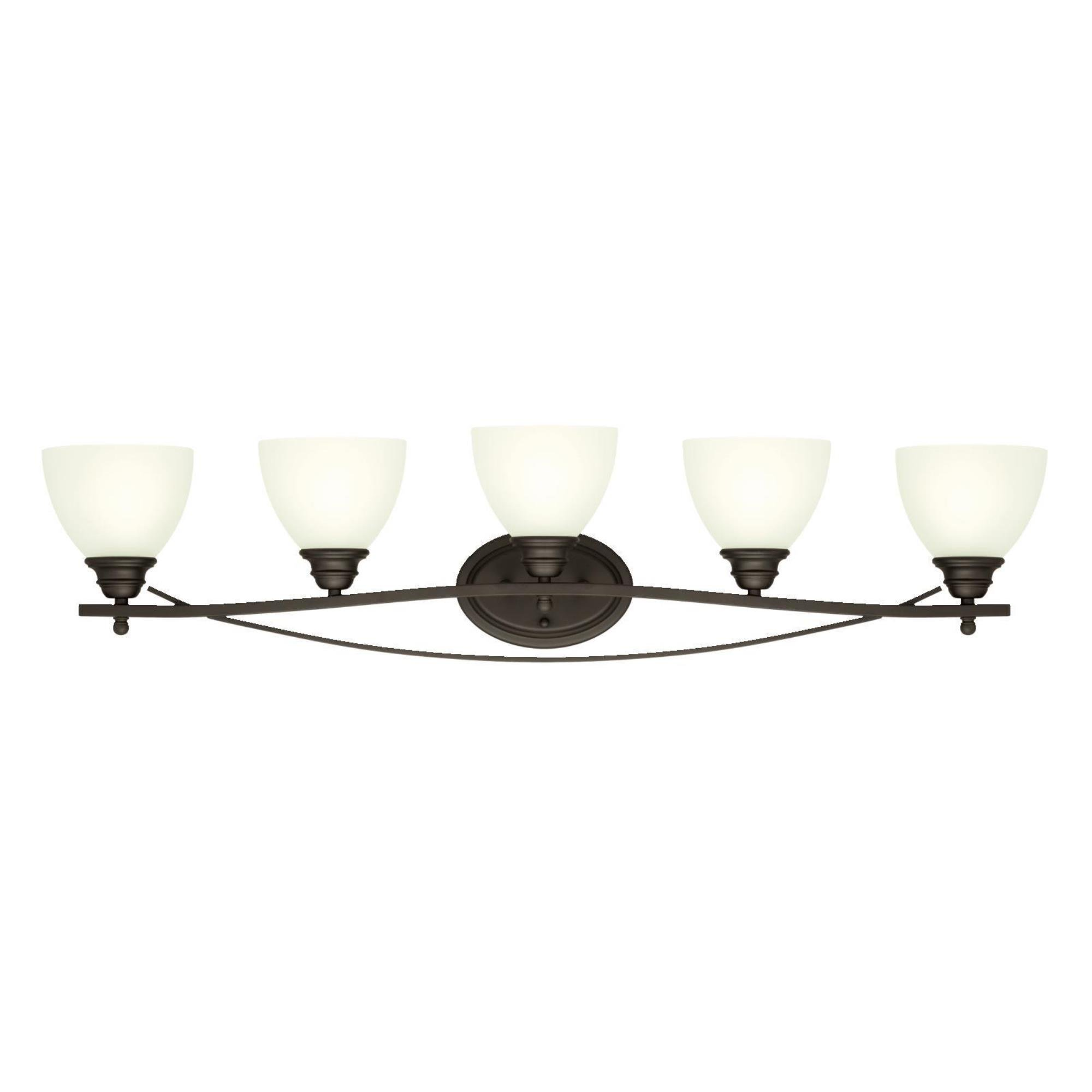 Westinghouse 6303600 Elvaston Five-Light Indoor Wall Fixture, Oil Rubbed Bronze Finish with Frosted Glass by Westinghouse