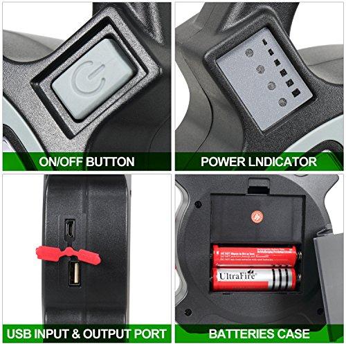 T-Sun COB LED Portable Work Light 5W 1200Lumens with Micro-USB Charging Emergency Work Light Camping Lantern Power Light by T-SUN (Image #2)