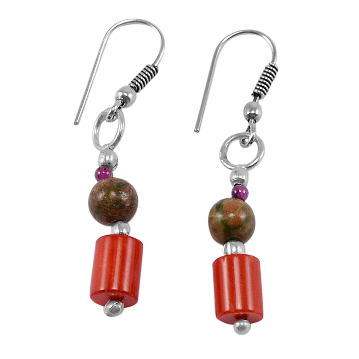 Saamarth Impex Unakite /& Jasper 925 Silver Plated Dangle Earring PG-130776