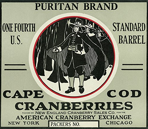 - Cape Cod, Massachusetts - Puritan Brand Cranberry Label (16x24 SIGNED Print Master Giclee Print w/Certificate of Authenticity - Wall Decor Travel Poster)