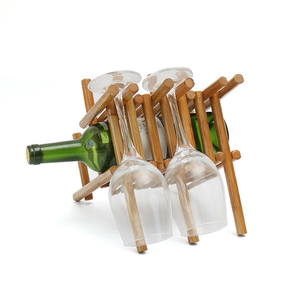 Bwlzsp 1 PCS Red wine rack goblet rack solid wood simple wine rack red wine rack upside down style (Without bottles and cups) LU717324