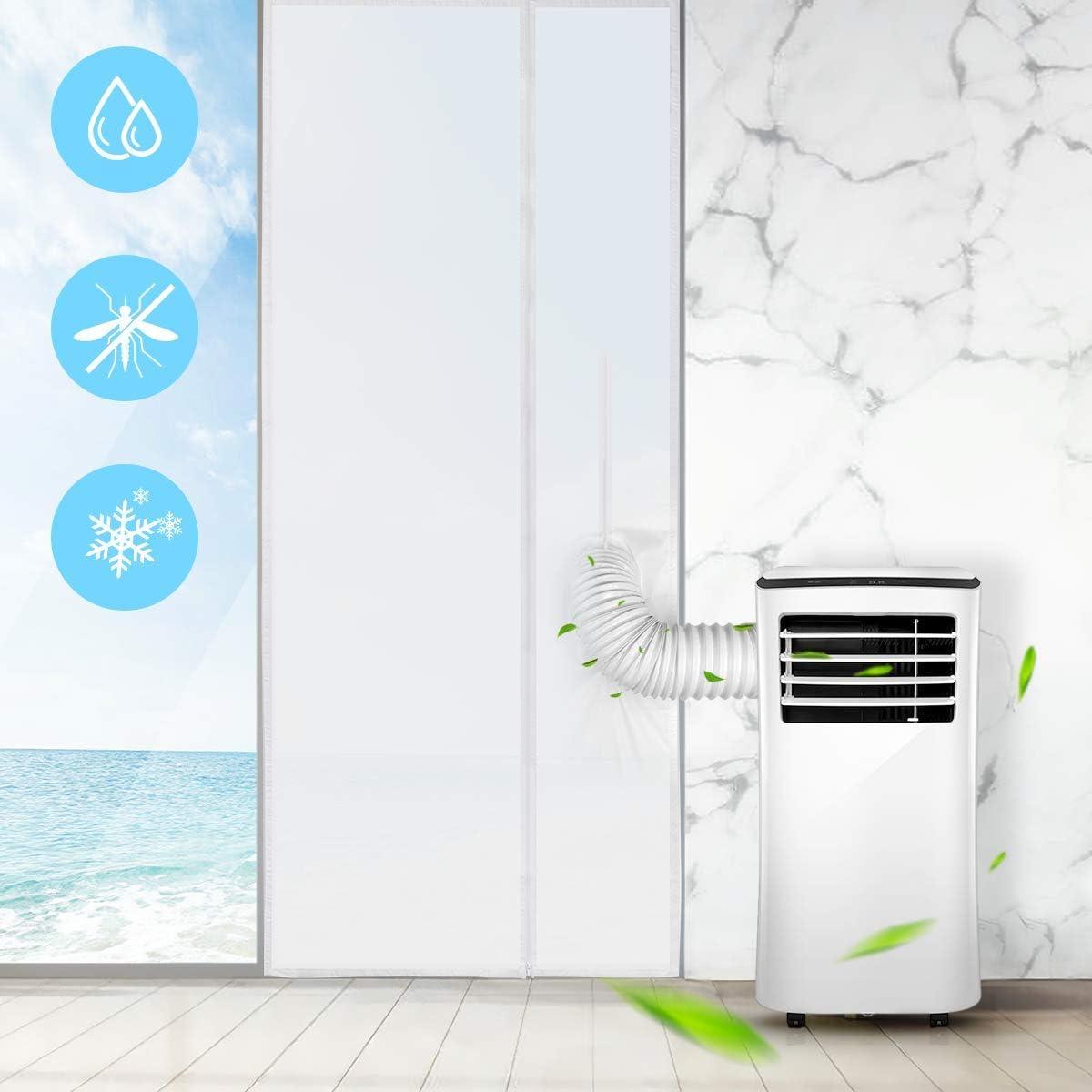 AGPTEK 210 * 90CM Aislamiento Ventanas para Aire Acondicionado Móvil y Secadora, Sello de Ventanas Impermeable, Anti UV, Anti-Mosquitos, con Dual Cremallera: Amazon.es: Hogar