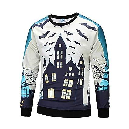 UJUNAOR Damen Herren Halloween Kreative 3D Gedruckt Casual Scary Halloween Party Langarm O Hals Top Bluse Schwarz