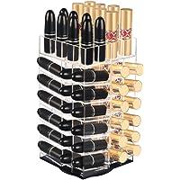 Yishik Acrylic Lipstick Holder 360-Degree Rotating Cosmetic Makeup Organizer Display Stand 64 Lipsticks Tower