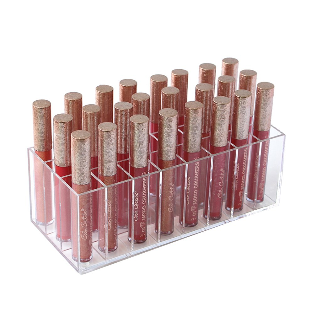 Mordoa Lip Gloss Holder Organizer, 24 Spaces Clear Acrylic Makeup Organizer Lipgloss Display Case Box by Mordoa