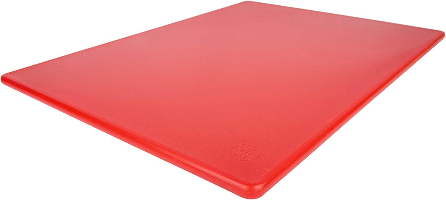 Commercial Red Plastic Cutting Board, Large 20x15 Inch, NSF Certified