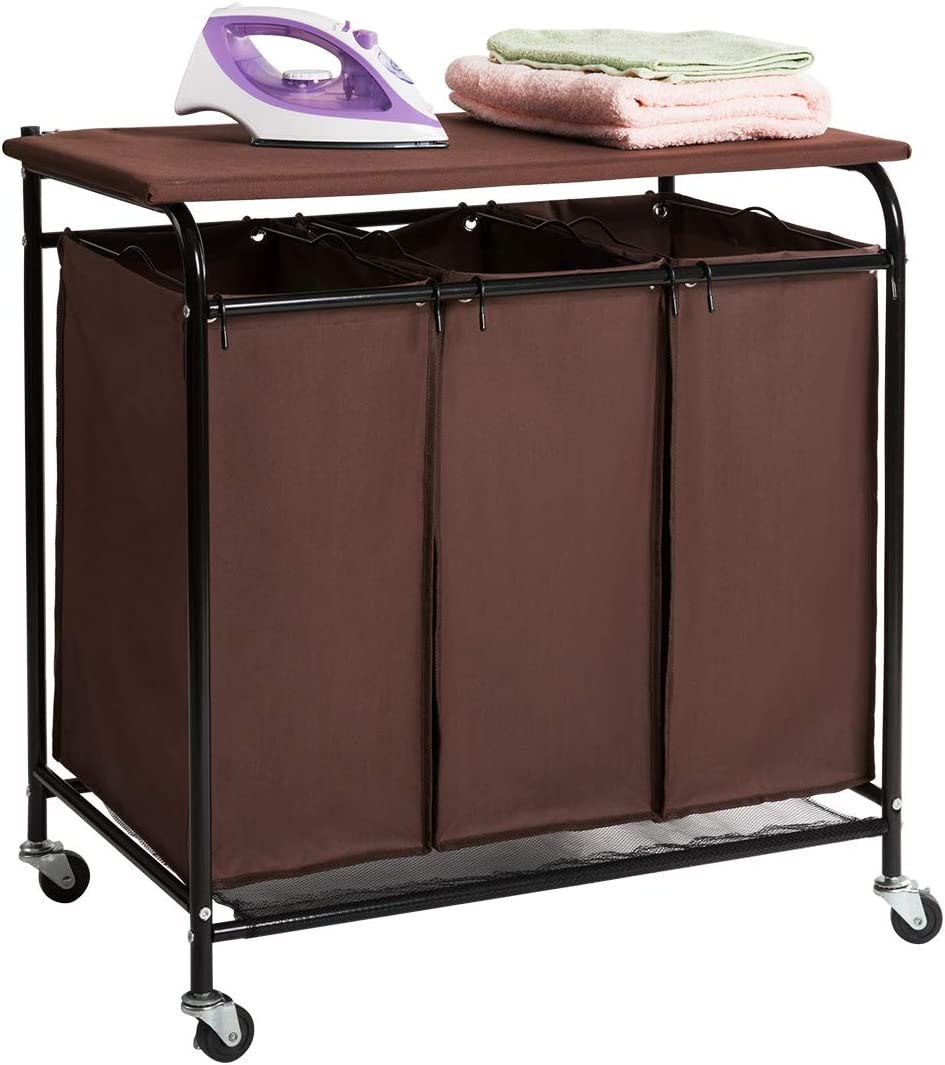 HollyHOME Laundry Cart 3-Bag Heavy-Duty Rolling with Ironing Board Laundry Room Organizer with Wheels Brown