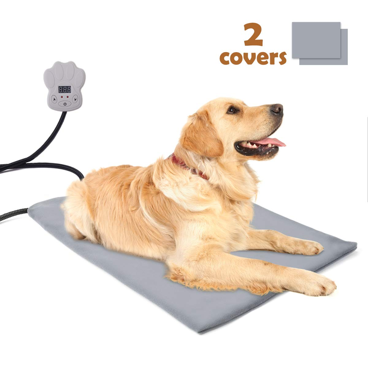 "Sotical Pet Heating Pad, Electric Heating Pad for Cats and Dogs Waterproof Warming Mat with Chew Resistant Cord Soft Remove Cover Overheat Protection (11.8"" 15.7"")"