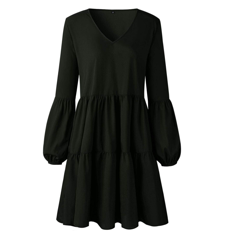 efd605fe359 Mystry Zone Women's Lantern Long Sleeve Tunic Dress V Neck Loose Swing  Shift Dresses: Amazon.ca: Clothing & Accessories