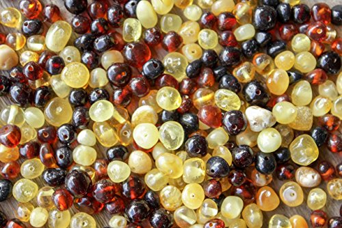 50 Pcs Multicolored Baltic Amber Beads -