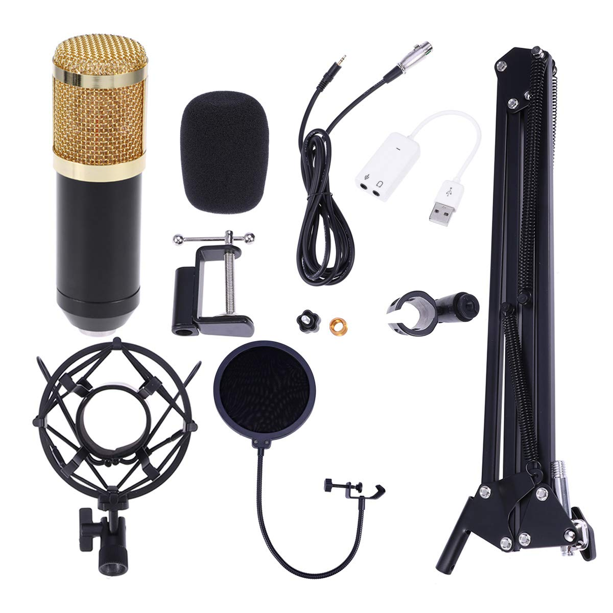 BM-800 Professional Studio Broadcasting Recording Condenser Microphone with Shock Mount Mic Stand Filter XLR - 3.5mm Cable and USB Sound Adapter (Black Gold)