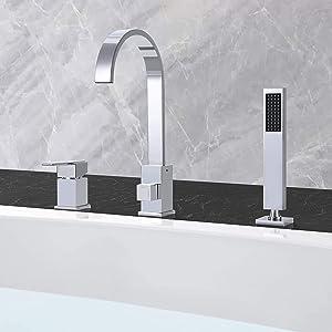 JinYuZe Modern Chrome Finish 3 Holes Single Handle Roman Bathtub Filler Faucet with Handheld Shower Waterfall Spout Tub