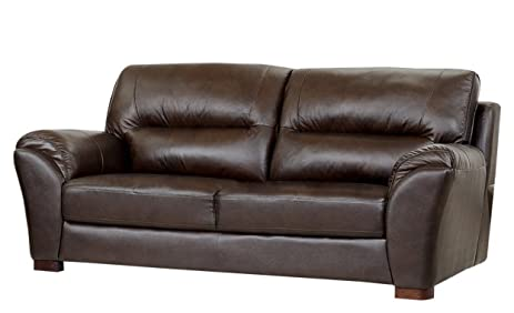 Amazon Com Abbyson Orson Leather Sofa Two Tone Brown Kitchen Dining