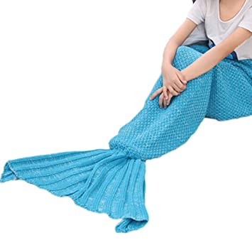 gearfan calor Kids niños de sirena manta mantas Multicolor para tejer saco de dormir diseño de cola de pez manta: Amazon.es: Bebé